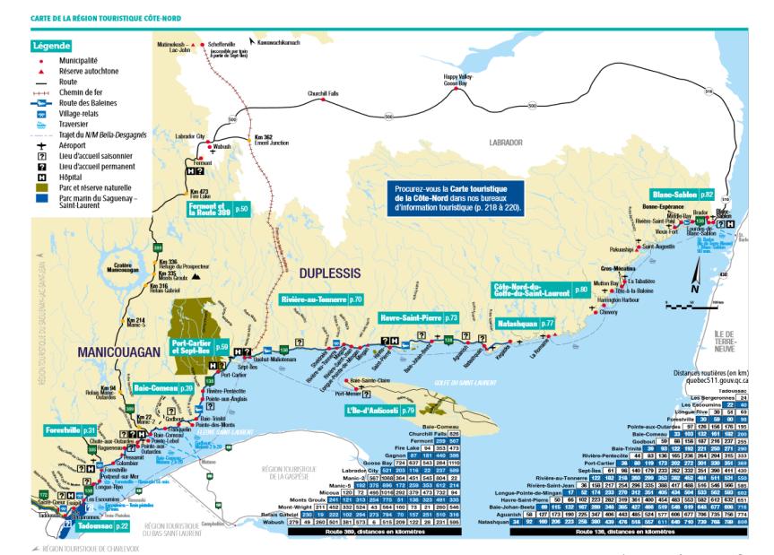 Carte_Cote-Nord térképe